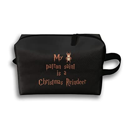delicate My Patron Saint Is A Christmas Reindeer Unisex Fashion Travel Bag Portable Toiletry Bag Organizer Storage