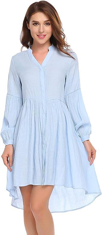 Elegante Vestido Asimétrico De Blusa Mujeres Las Camisa ...