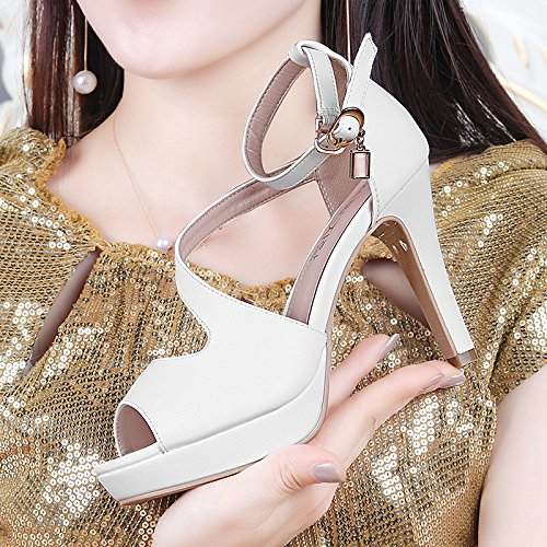 AJ-con una bella combaciano col tacco sandali allacciati le scarpe sexy a bocca di pesce,eu35,white