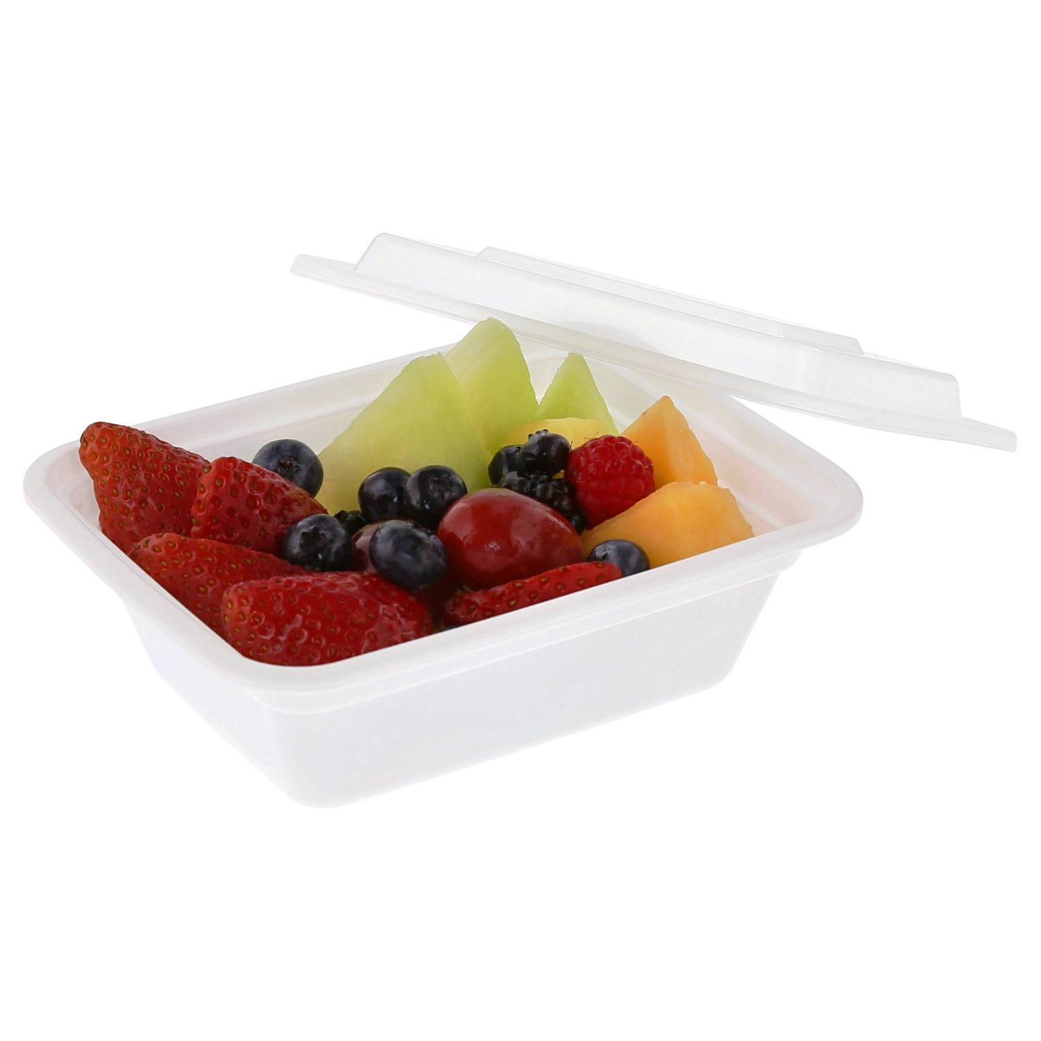 """Tripak Premium 5"""" x 4"""" White Plastic Container, 1.5"""" Deep, 12oz. for Microwave or Freezer, Pack of 50"""