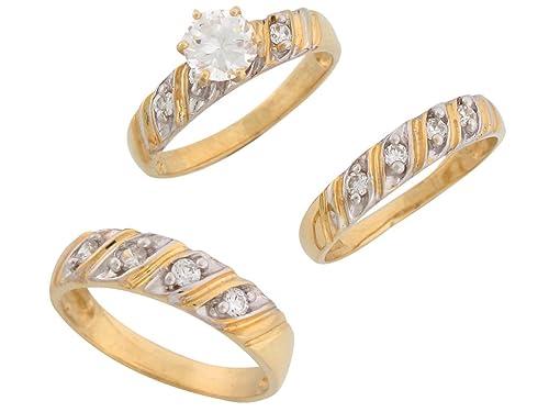 Amazon.com: 14 K Bicolor Oro Blanco Cz espumoso su y el suyo ...