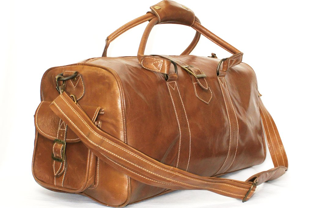 Medium Tan Ladies Premium Leather Holdall Duffle Travel Sports Gym ...