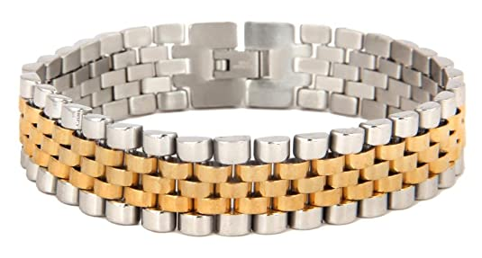 The jewelbox 316L surgical stainless steel 22K gold rhodium mens bracelet <span at amazon