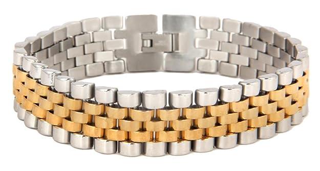 The jewelbox 316L surgical stainless steel 22K gold rhodium mens bracelet Bracelets & Kadas at amazon