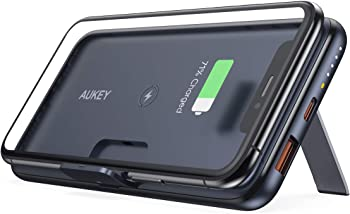 Aukey 10000mAh USB C Wireless Portable Charger with Foldable Stand
