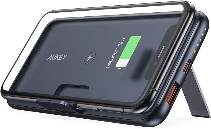 AUKEY Cargador portátil Powerbank 10000 mAh, Banco de energía inalámbrico con Soporte de Plegable Pata, batería portátil con PD 3.0 Carga rápida, Batería Externa USB-C de 18 W para iPhone 11/11 Pro.