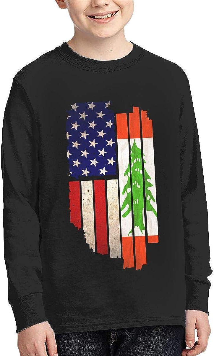 Adolescent Vintage USA Lebanon Flag ComfortSoft Long Sleeve Tee
