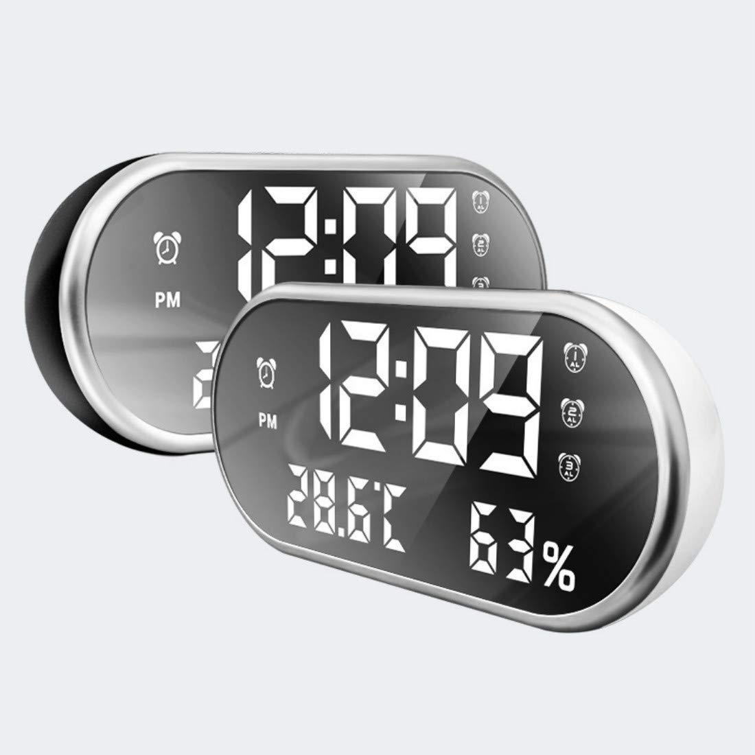 Gray Kaever R/éveil Num/érique,LED Digital Clock with USB Charger Port,R/éveil Temp/érature,LED Mirror Display,3 r/églage de laLuminosit/é,Recharge USB pour t/él/éphone