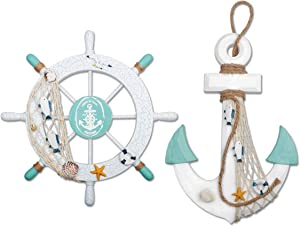 "2 Pack 11"" Nautical Beach Wooden Ship Wheel and 13"" Wood Anchor with Rope Nautical Boat Steering Rudder Wall Decor Door Hanging Ornament Beach Theme Home Decoration(White&Green)"