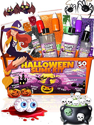 October Halloween Crafts (Halloween Slime Kit for Girls and Boys - 50 Pieces DIY Slime Making Set Supplies - Slime Glue, Activator, Glowing, Creepy, Scary, and Spooky Add Ins - Gift for Kids)