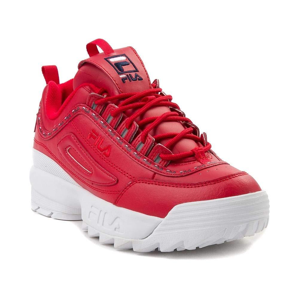 rot Navy Weiß 2035 Fila Damen Disruptor II Premium Leather Synthetic Trainer
