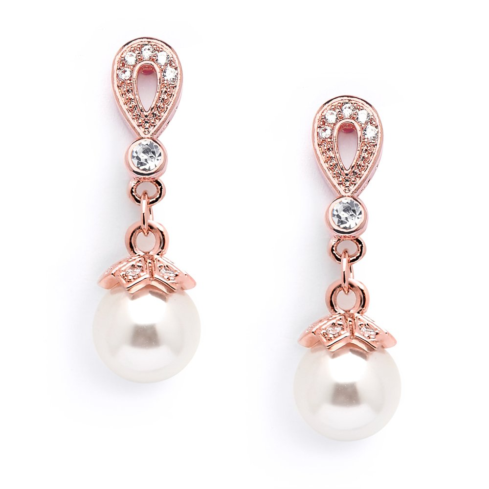 Mariell Rose Gold Vintage Art Deco Glass Pearl Drop Earrings with Pave CZ for Wedding, Bride & Bridesmaid by Mariell