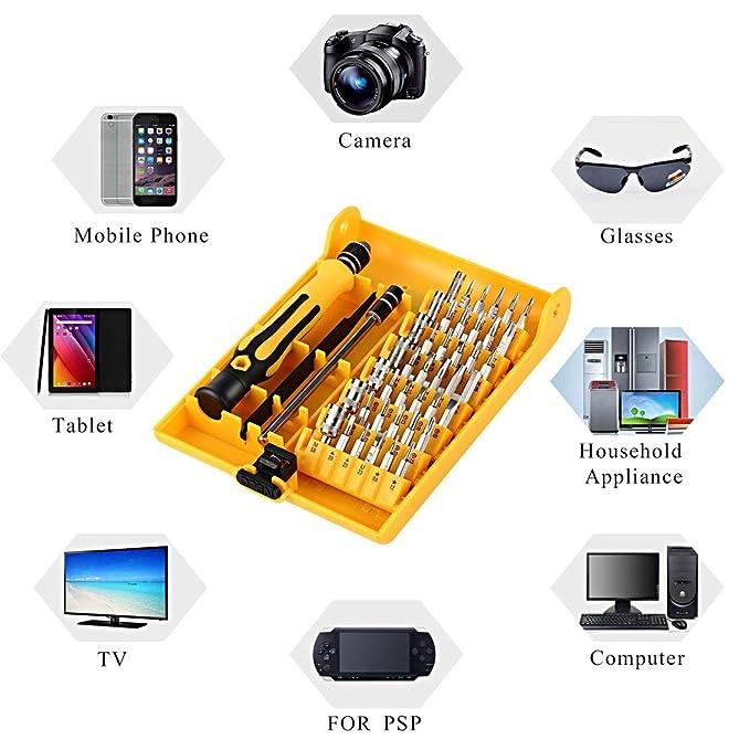 fghdfdhfdgjhh Profesional 45 en 1 Juego de destornilladores de precisión Juego de herramientas de reparación de destornilladores de hardware para teléfono ...