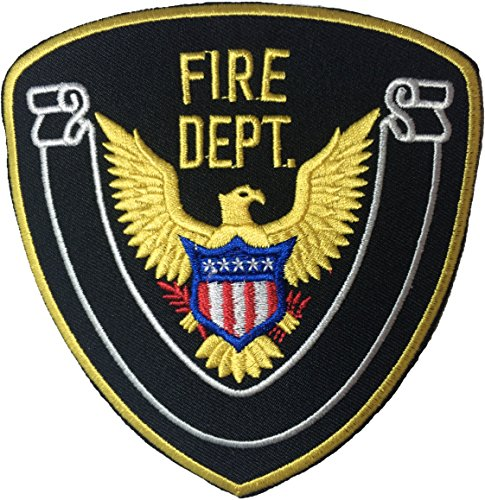 Fire Dept. Eagle Vintage Sew Iron on Applique Embroidered Emblem Badge Patch By Ranger Return (IRON-FIRE-DEPT-BLCK)