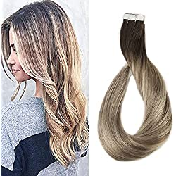 Full Shine 18 inch Tape in Extensions Glue on Hair Extensions Dark Brown Color #3 Fading to #8 and #22 Blonde Highlighted Hair 20Pcs 50gram