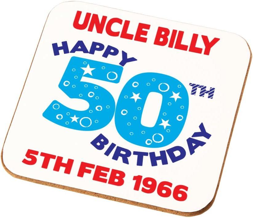 Amazon Com Mens Happy 50th Birthday Personalised Coaster Dad Papa Husband His Birthday Gift Kitchen Dining