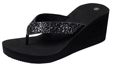 04d0368cb71 Cambridge Select Women s Open Toe Thong Glitter Slip-On Platform Wedge Flip-Flop  Sandal