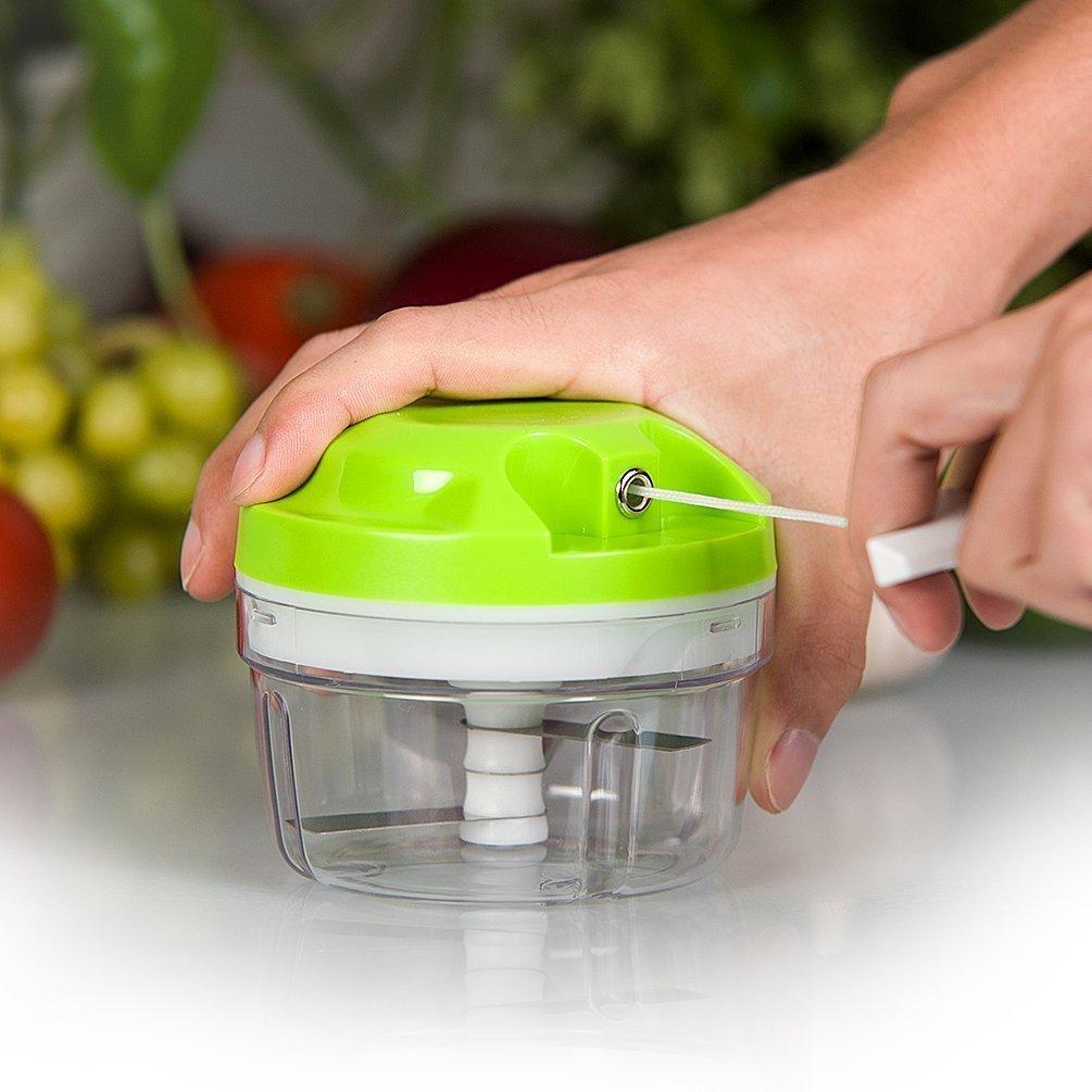 Picadora de Alimentos,Licuadora manual tirando,Capacidad de 300 ML,Cortador de Verduras para Picar frutas hierbas vegetales cebolla ajos - Verde: Amazon.es: ...