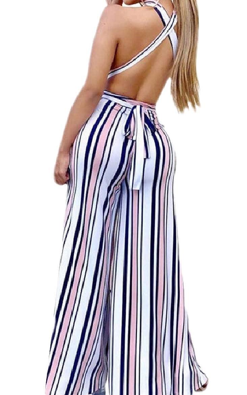 Whitive Womens Backless Strip Wide Leg Regular Fit Halter Romper Jumpsuit