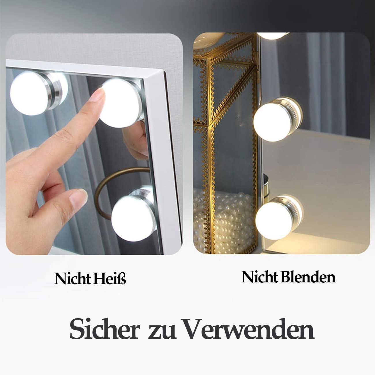 DAYU Hollywood-Stil Speigel mit Beleuchtung Schminkspiegel Theaterspiegel mit Licht 3 Farbtemperatur 18 dimmbare LED Lampen