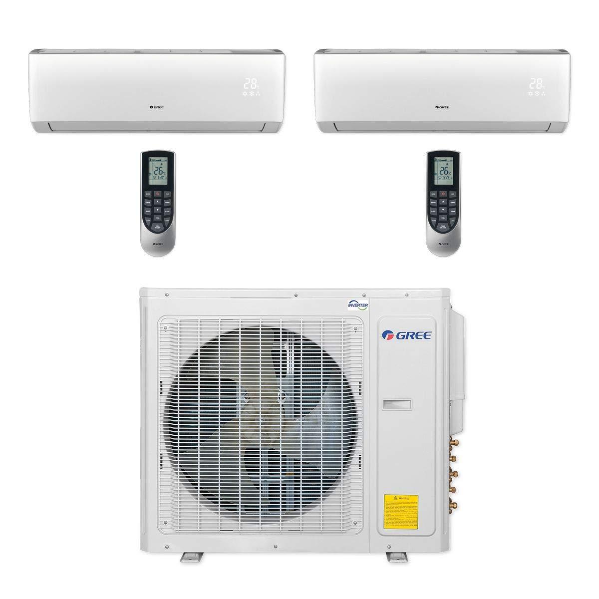 Gree MULTI30CLIV205-30,000 BTU Multi21+ Dual-Zone Wall Mount Mini Split Air Conditioner Heat Pump 208-230V (12-18)