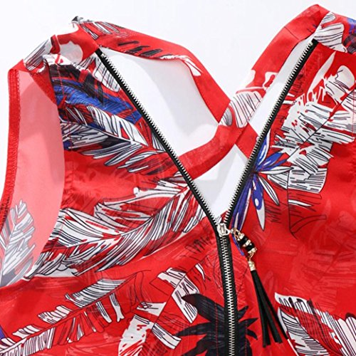 Rouge lâche V sans Zipper Back Tops Cross manches ourlet Tops Tefamore Hem Débardeur ❤️Femmes Neck q6fxgw1qt