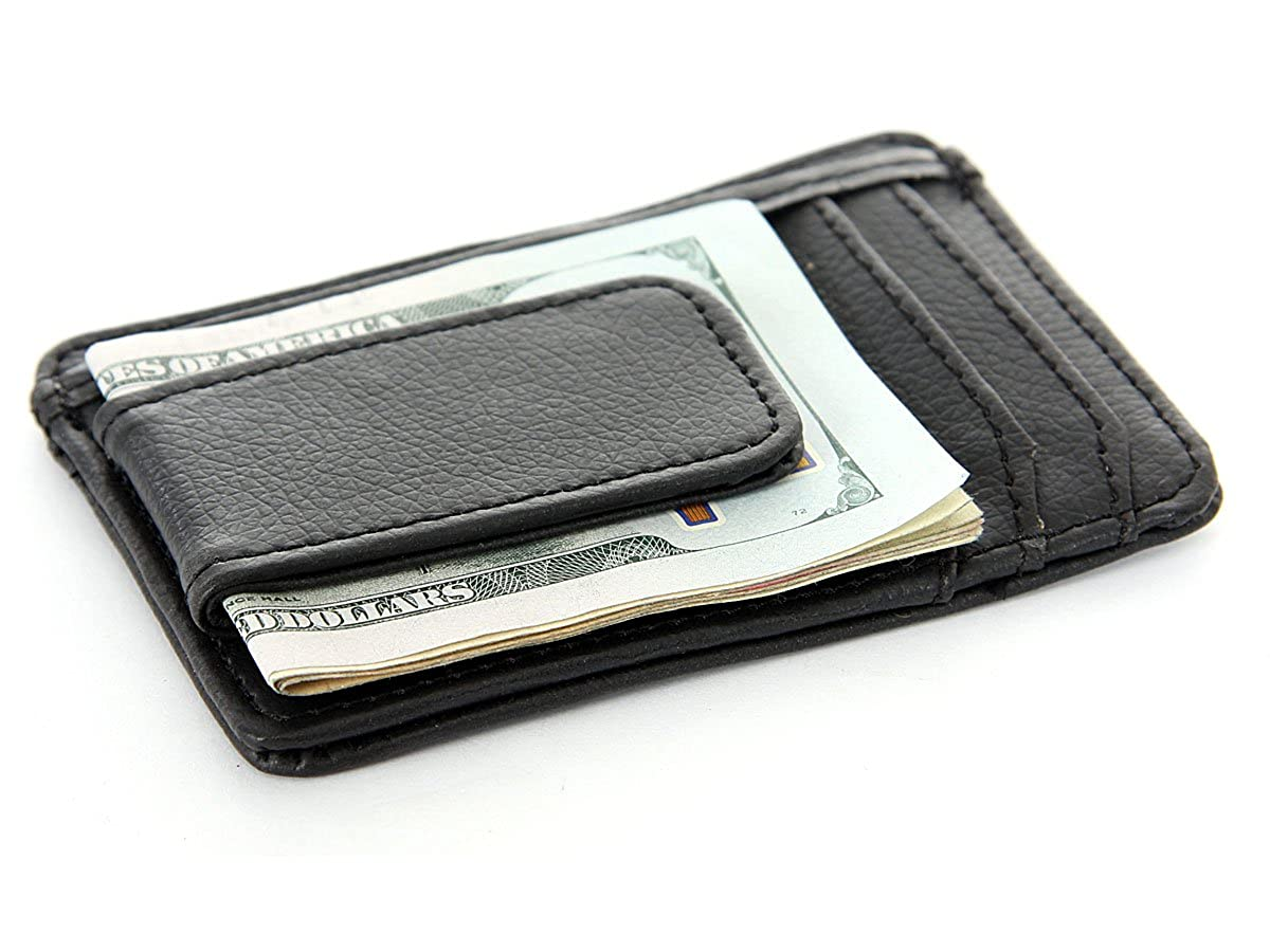 Mens Leather Magnetic Money Clip 3 Credit Card Id Holder Wallet/ 3.0x4.5 inches