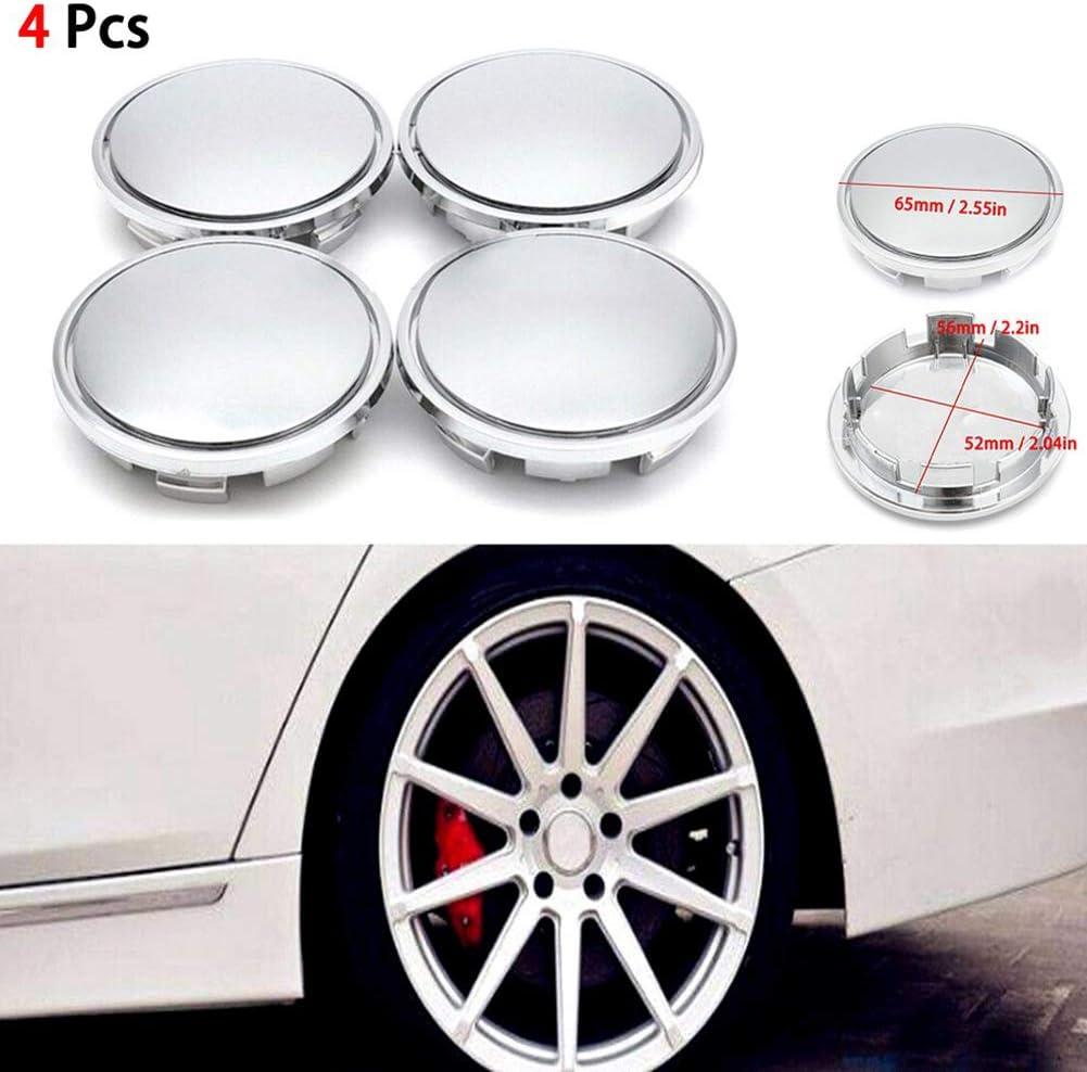 Alician 4Pcs Universal Chrome Car Wheel Center Caps Tyre Rim Hub Cap Cover ABS Plastic Auto Parts
