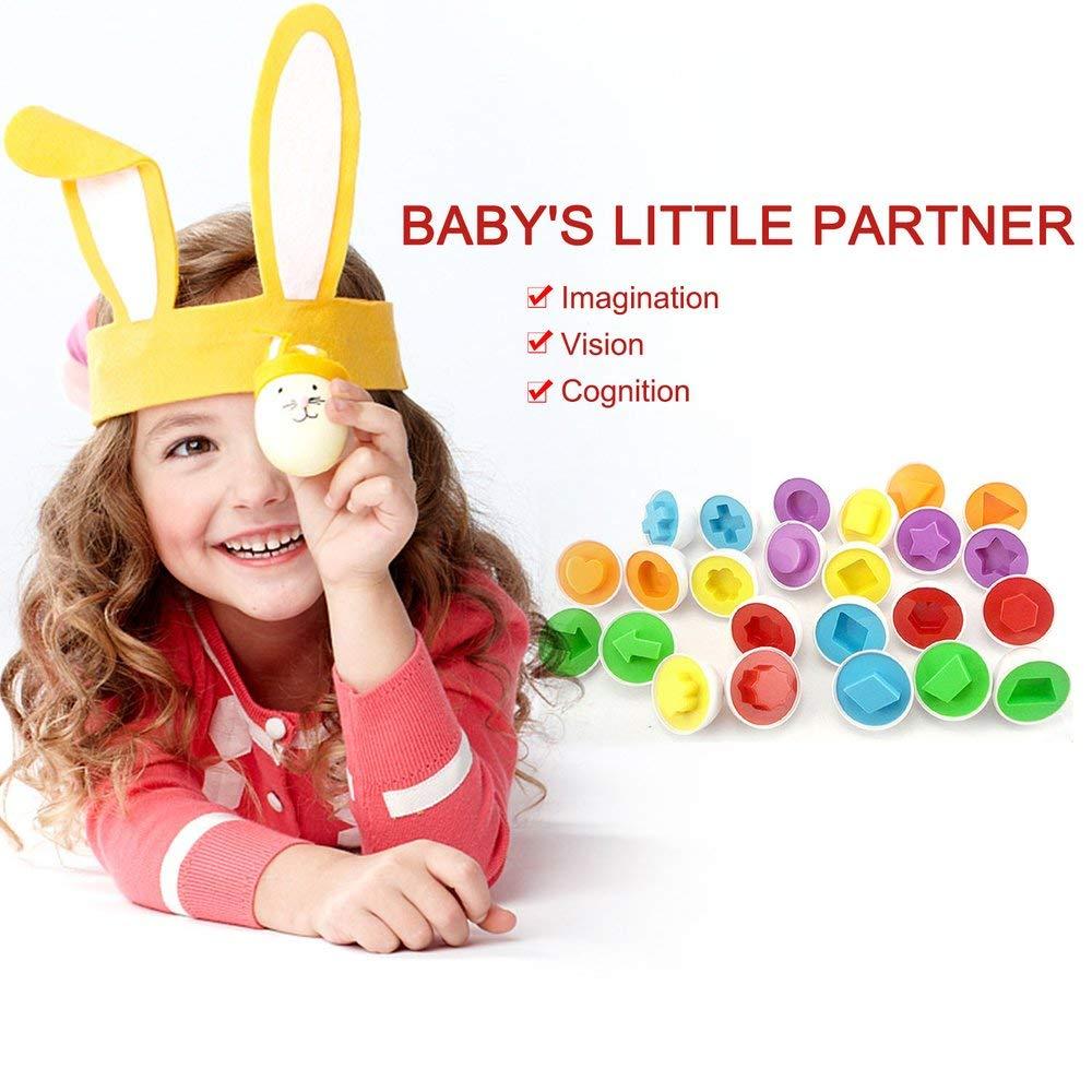 Set Giocattoli Uova Saggio Finto Puzzle Uova Intelligenti Baby Kid Egg Matching Puzzle per Bambini Imparare Giocattoli educativi Oyamihin 6 pz Casuale