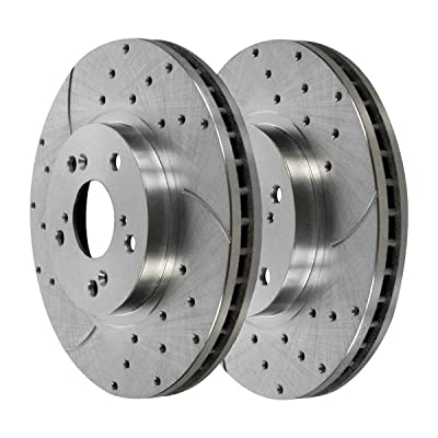 Auto Shack PR41277DSZPR Front Set 2 Performance Silver Drilled Slotted Rotors 5 Stud: Automotive