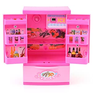 GLOGLOW Refrigerator Pretend Play Toy Pink Mini Refrigerator Fridge for Kids with Mom Play Food and Drawer Children Role Play Educational Home Appliance Toy