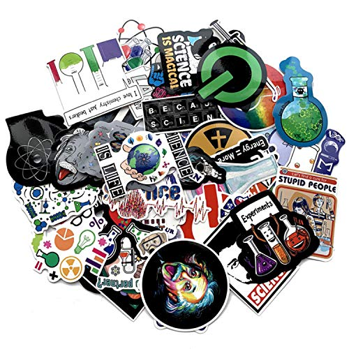 50pcs Laboratory Science Chemistry Physics Einstein Stickers for Laptop Stickers Motorcycle Bicycle Skateboard Luggage Decal Graffiti Patches Waterproof Stickers for [No-Duplicate Sticker Pack]