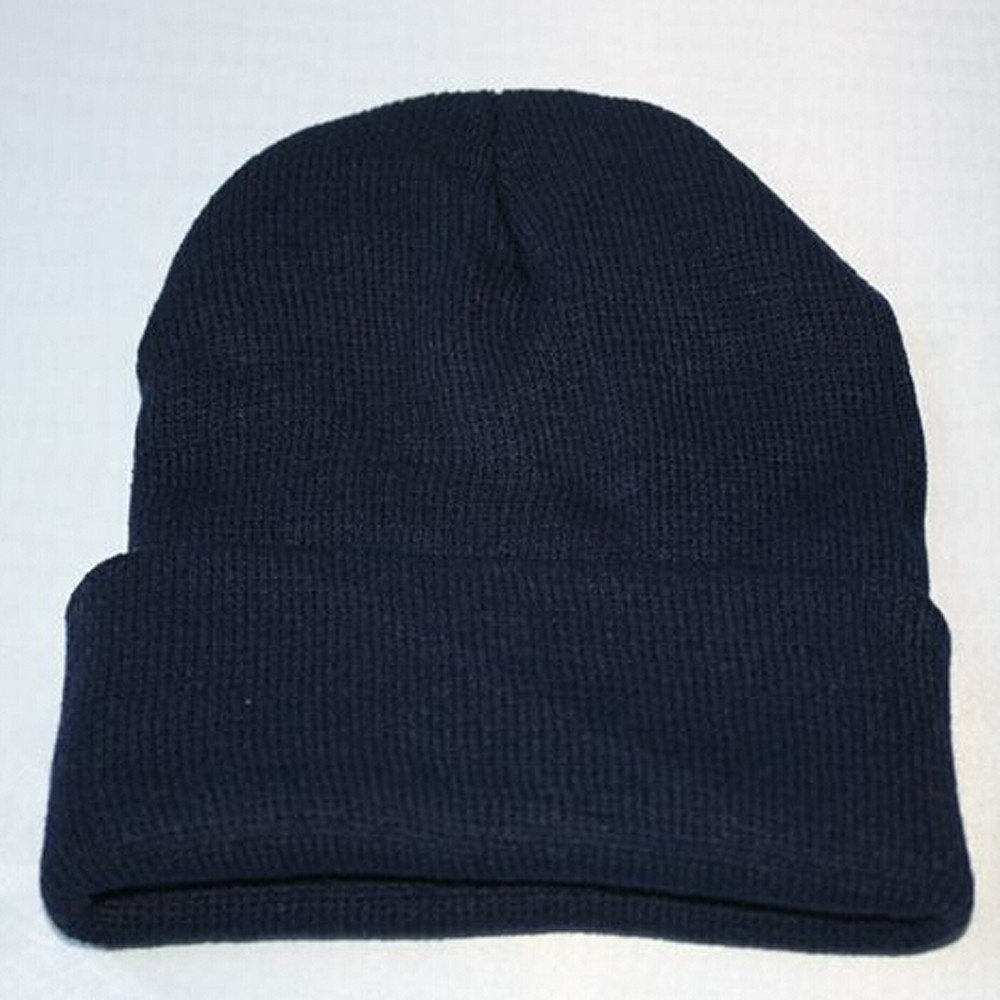 1315b5d795a Challyhope Beanie for Women and Men - by Unisex Cuffed Plain Skull Toboggan  Knit Hat and Cap(Dark Blue