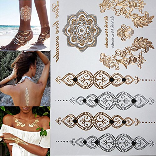 Metallic Temporary Tattoos - Free shopping new fashion flower body and I temporary henna tattoos metallic gold and silver bracelet stickers Flash tattoo art - Gold Metallic - Christi Corpus Shopping
