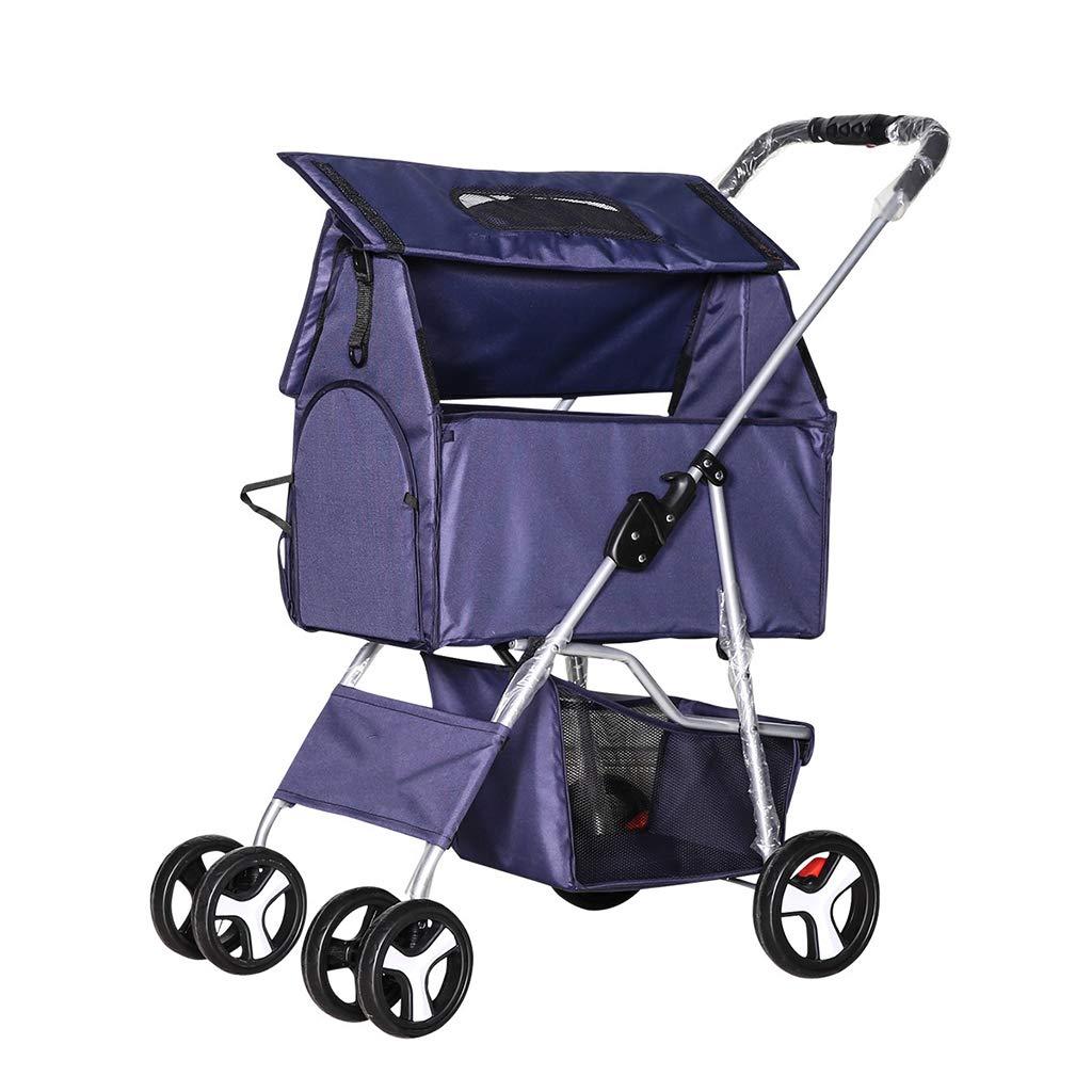 bluee Kitzen Pet Stroller Dog Cat Detachable Trolley Easy Folding Travel Pet Jogger Loading 15 Kg,47  65  100,Pink