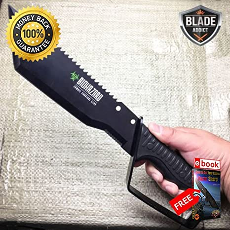 ZOMBIE FULL TANG RAMBO BOWIE MACHETE TACTICAL SURVIVAL ...