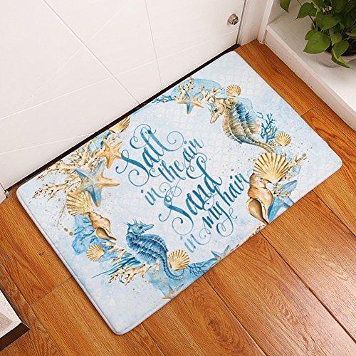 (YJBear Thin Blue Sea Horse Golden Shell Conch Print Kitchen Floor Runner Rectangle Doormat Entry Mat Indoor Floor Mat Home Decor Carpet 20