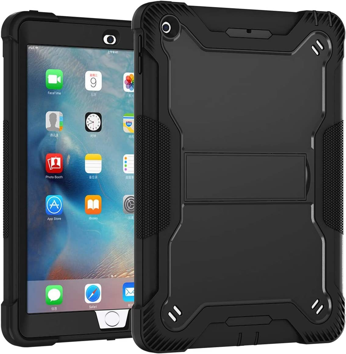Lamcase for iPad 2 Case, iPad 3 Case, iPad 4 Case, Built with Kickstand Heavy Duty Rubber Hybrid High Impact Drop Rugged Shockproof Full Body Protective Case for iPad 4th/3rd/2nd Generation, Black