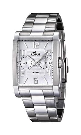 Lotus Reloj de Hombre de Cuarzo con Esfera Analógica Blanca Pantalla y Plata Pulsera de Acero Inoxidable 18220/1: Amazon.es: Relojes