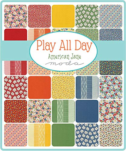 Play All Day Charm Pack by American Jane; 42-5 Inch Precut Fabric Quilt Squares