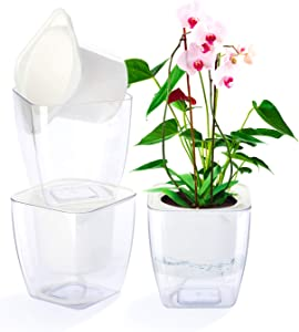 WOHOUS 3 Pack Self Watering Planter, Clear Plastic Automatic-Watering Planter Self Watering Pots for Indoor Plants Flower Pot for All House Plants, Succulents, Herb, African Violets (3 Packs Medium)