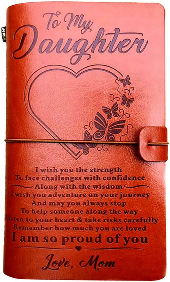 """To My Daughter Leather Journal from Mom -I Am so Proud of You-7.88""""x4.7""""Embossed Vintage Refillable Writing Journal for Christmas,Birthdays (From Mom to Daughter)"""