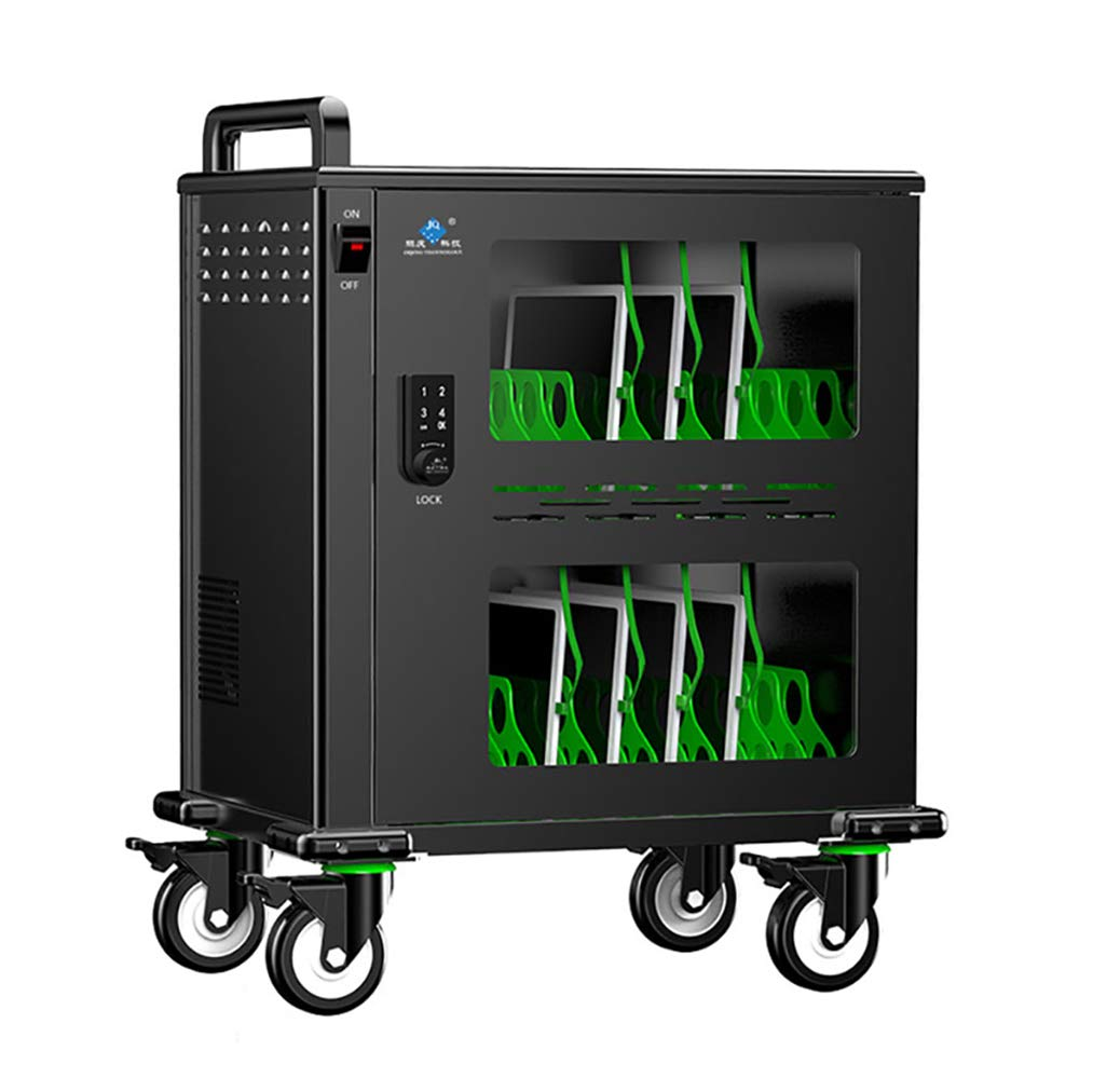 JCJ-Shop Data Synchronization Charging Cabinet and Storage Cart for iPads and Laptop Computers, Space for Up to 32 Tablets, with Surge Protection, Temper-Resistant Door and Cooling Fan