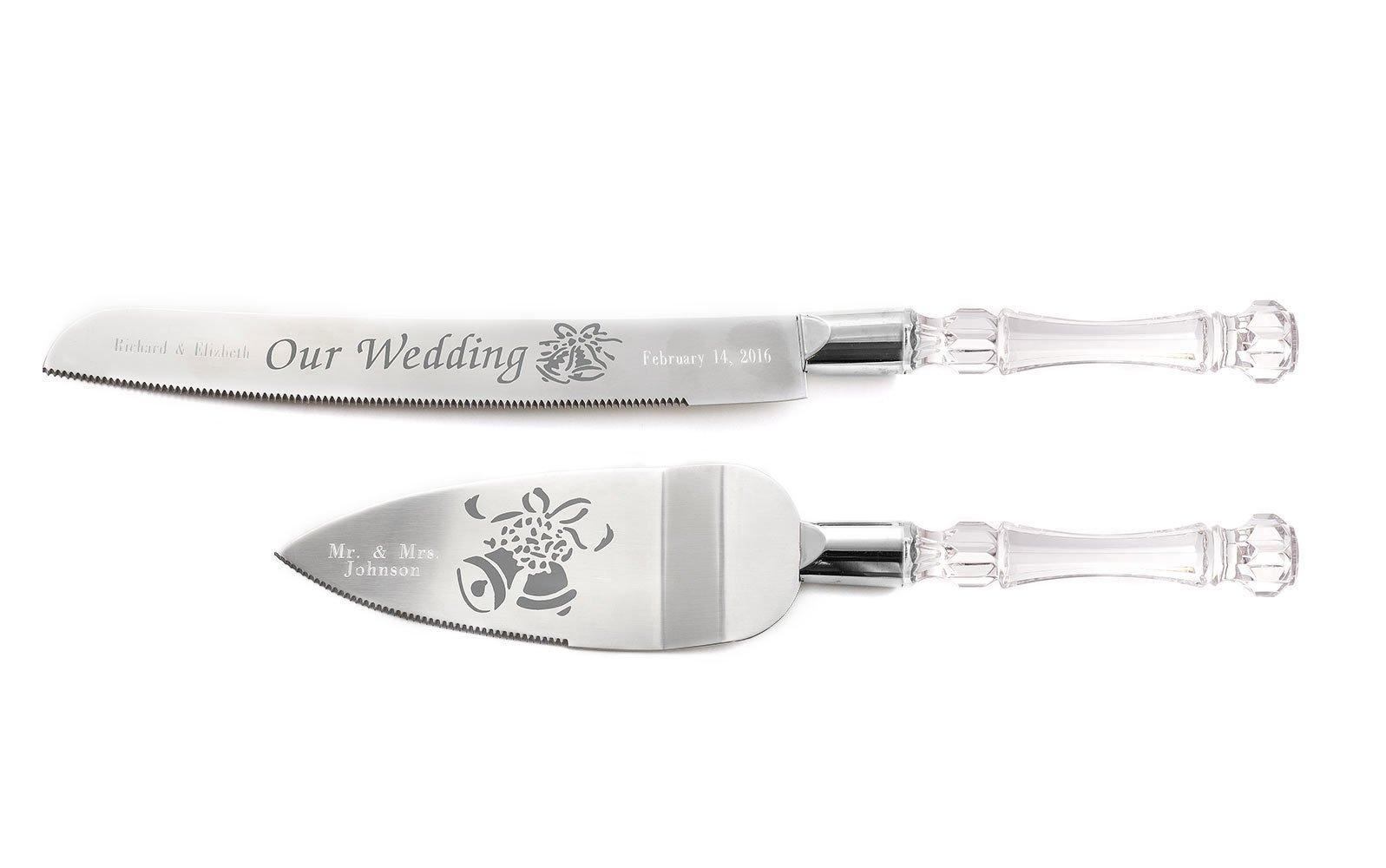 Personalized Wedding Cake Knife & Server Set Engraved Custom