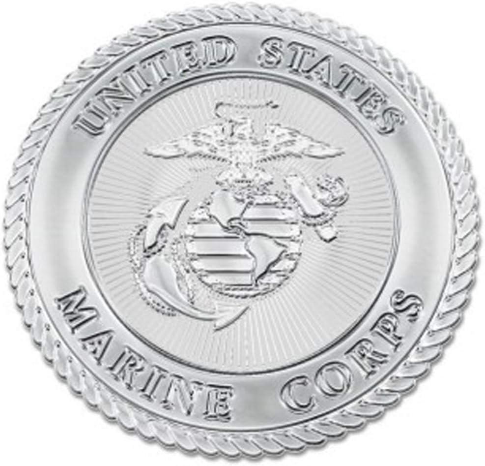 Chrome Metal WinCraft United States Marine Corps Round Premium Auto Emblem