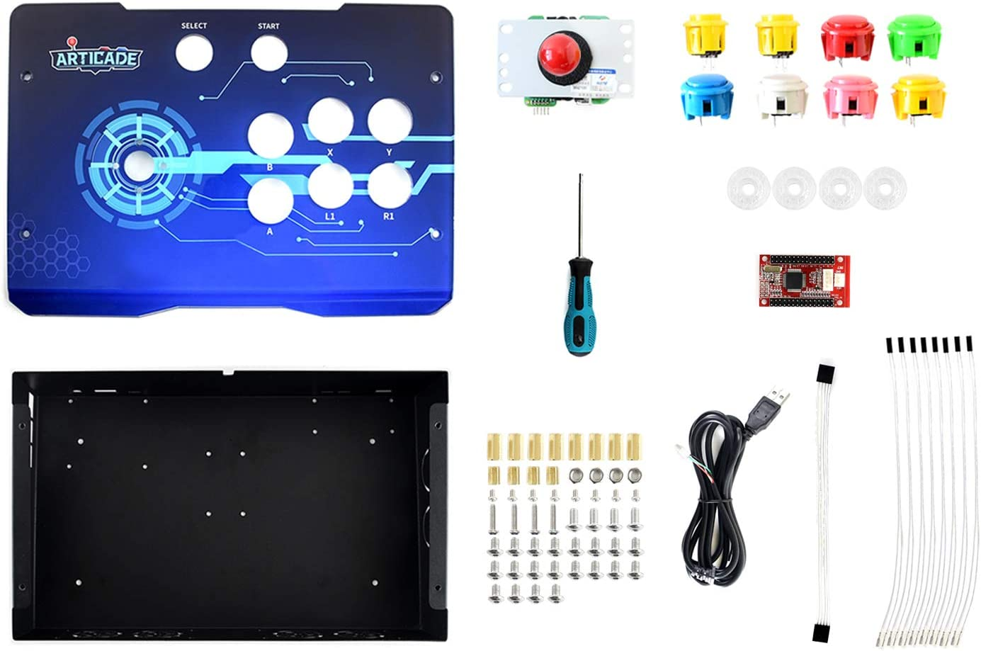 Waveshare Arcade-D-1P USB Arcade Control Box Supports Raspberry Pi PC Tablet 1 Player Smart TV Provides Classic Joystick and Colorful Buttons Driver Free Plug and Play UV Silk Print Acrylic Panel: Amazon.es: