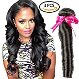 Cheap Armmu 9A Grade Spring Curly Remy Human Hair Extensions 100% Unprocessed Virgin Hair 3 Bundles Brazilian Hair Weft Natural Black Color with Free Gift