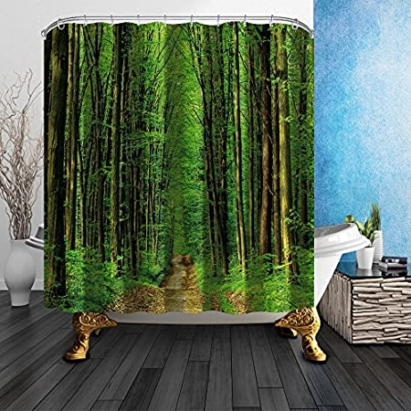 Special Shower Curtains Forest Curtain Liner Recyclable Path Road In Green Trees