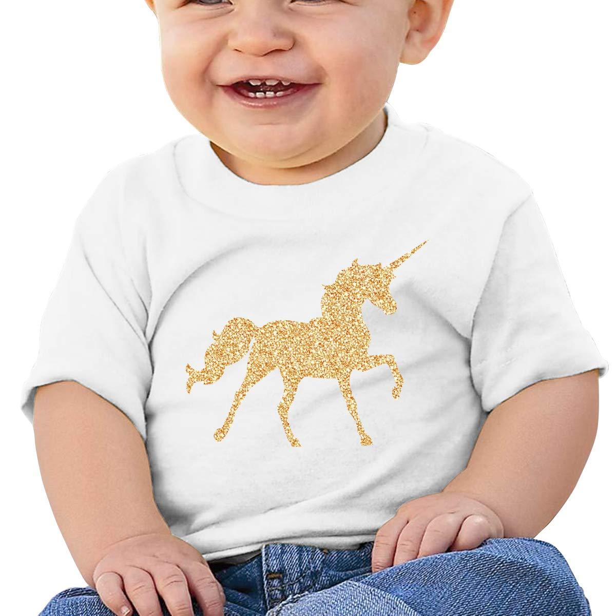 Hazhisha Gold Unicorn Baby T-Shirt with Round Collar and Pure Cottonwhite