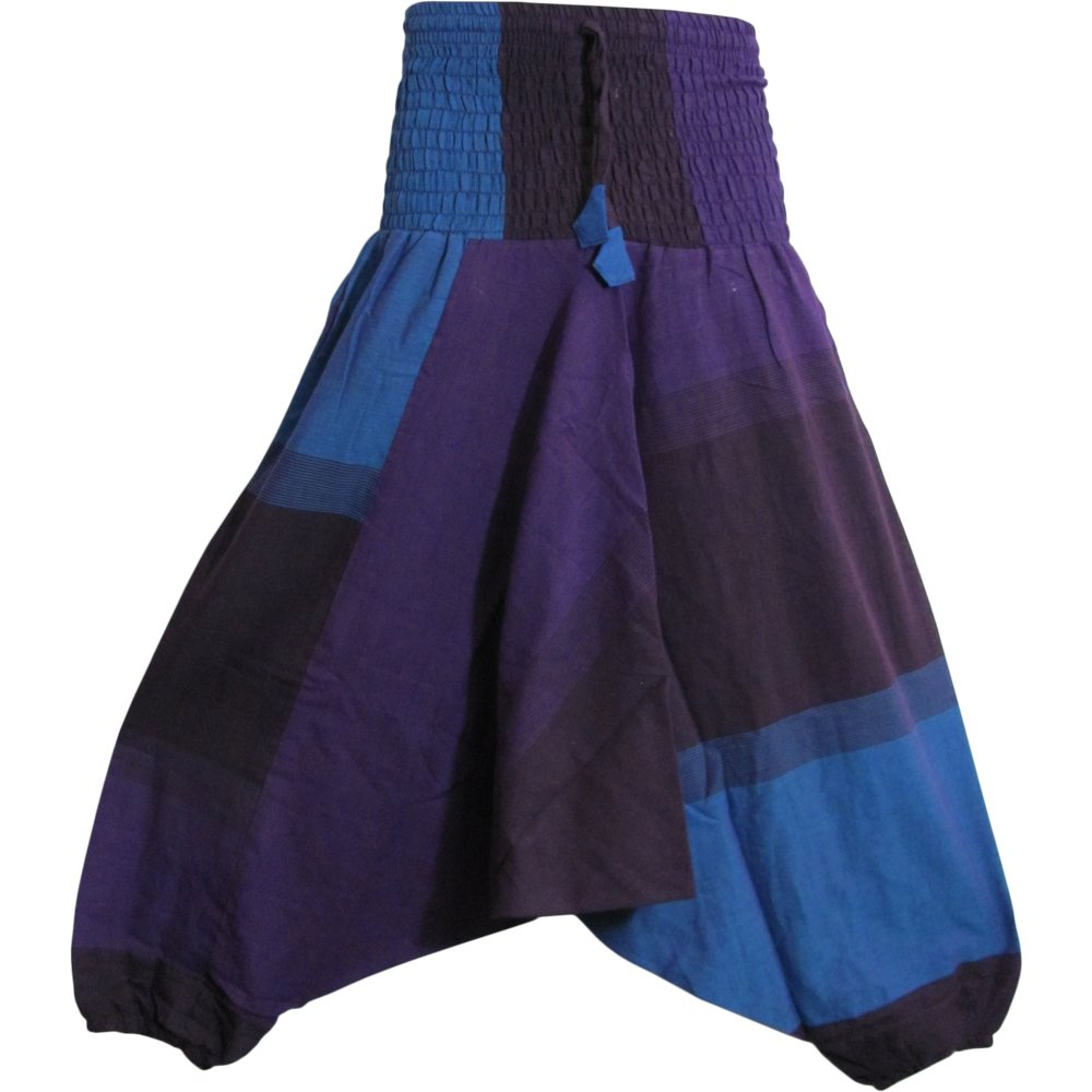 Mens Aladdin Alibaba Plaid Gypsy Hippie Smocked Elastic Waist Yoga Harem Pants